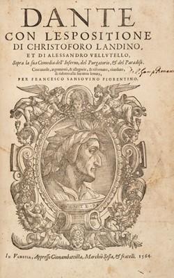 Lot 317 - Dante Alighieri.  Dante con l'espositione di Christoforo Landino..., Venice, 1564