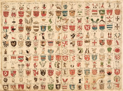 Lot 271 - German armorial volume. Containing 480 hand-painted continental shields & crests, early 16th century