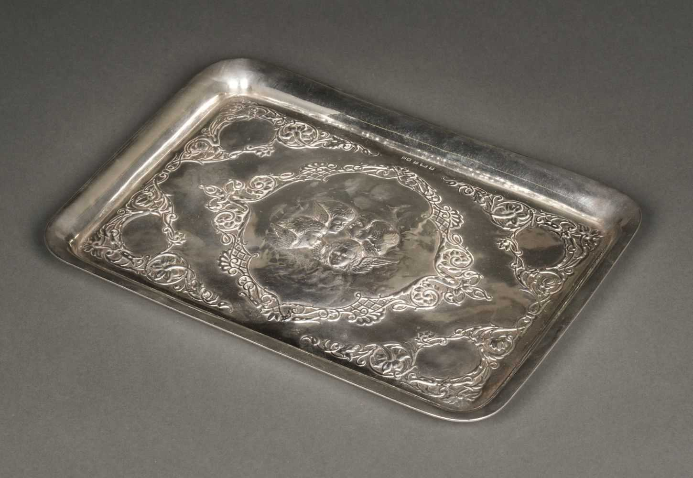 Lot 35 - Tray. Victorian silver tray by Henry Matthews, Birmingham 1901