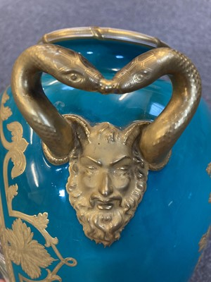 Lot 126 - Royal Worcester turquoise-ground baluster vase, 1863
