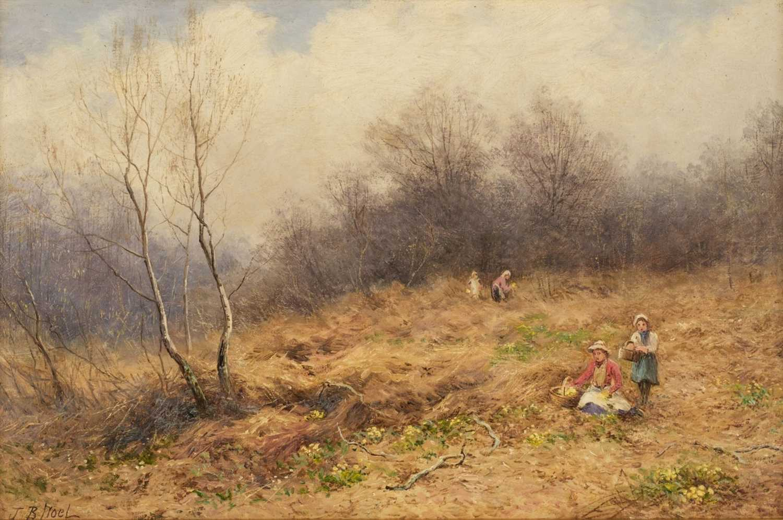 Lot 354 - Noel (John Bates, 1870-1927). Primrose gathering in Cowleigh Woods, 1924