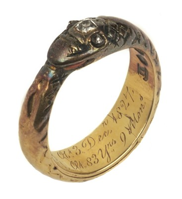Lot 61 - Mourning Ring. George III period 18ct gold mourning ring in the form of a snake
