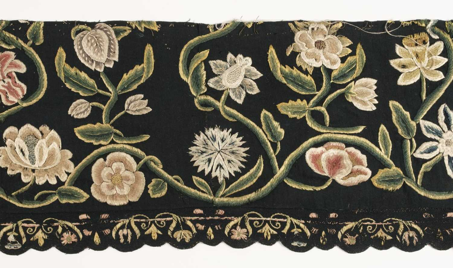 Lot 246 - Embroideries. Four fragments of embroidery, probably Dutch, second half of the 17th century