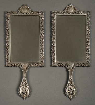 Lot 14 - Mirrors. Pair of Scottish silver hand mirrors by R & W Sorley, Glasgow, 1894