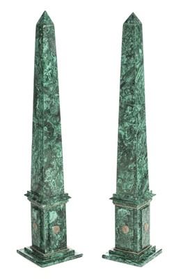 Lot 62 - Obelisks. Pair of Malachite obelisks