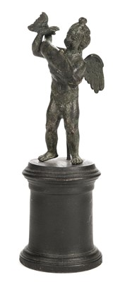Lot 67 - Sculpture. Bronze putto figure probably 18th-century