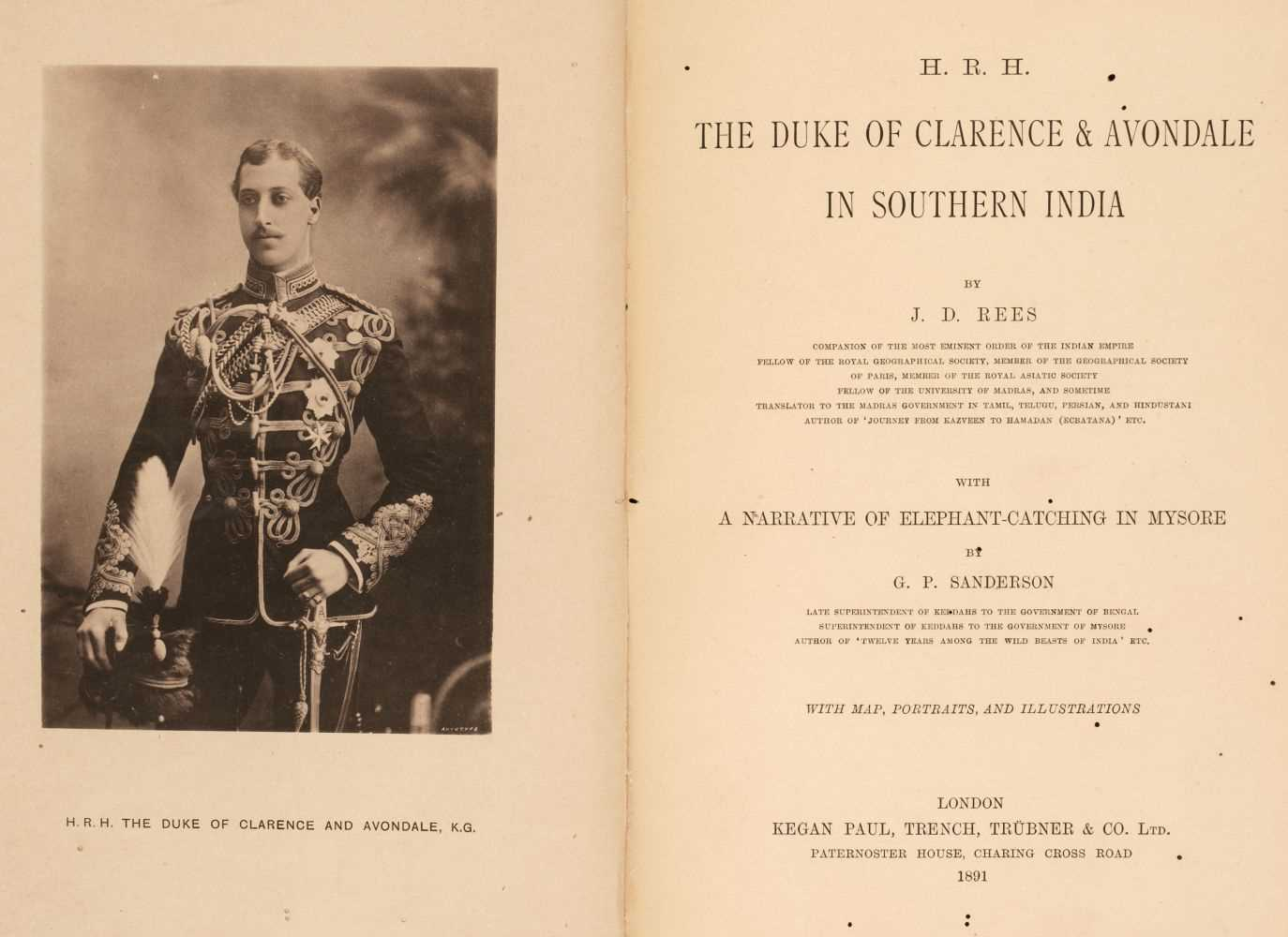 Lot 43 - Rees (John David). HRH the Duke of Clarence & Avondale in Southern India... , 1st edition, 1891