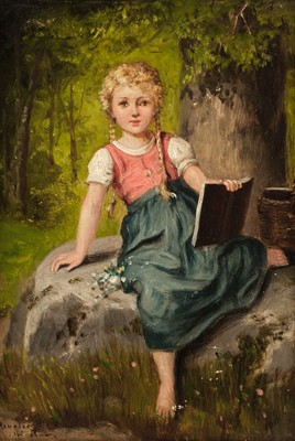 Lot 342 - Meunier (Franz, active circa 1900). Young girl seated, & Young boy with satchel, pair of oils