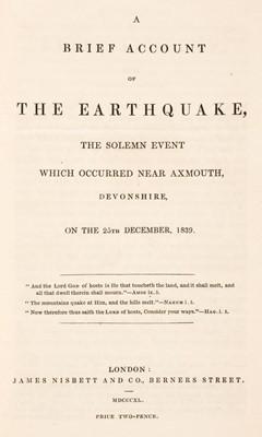 Lot 33 - Devon. A Brief Account of the Earthquake, 1840