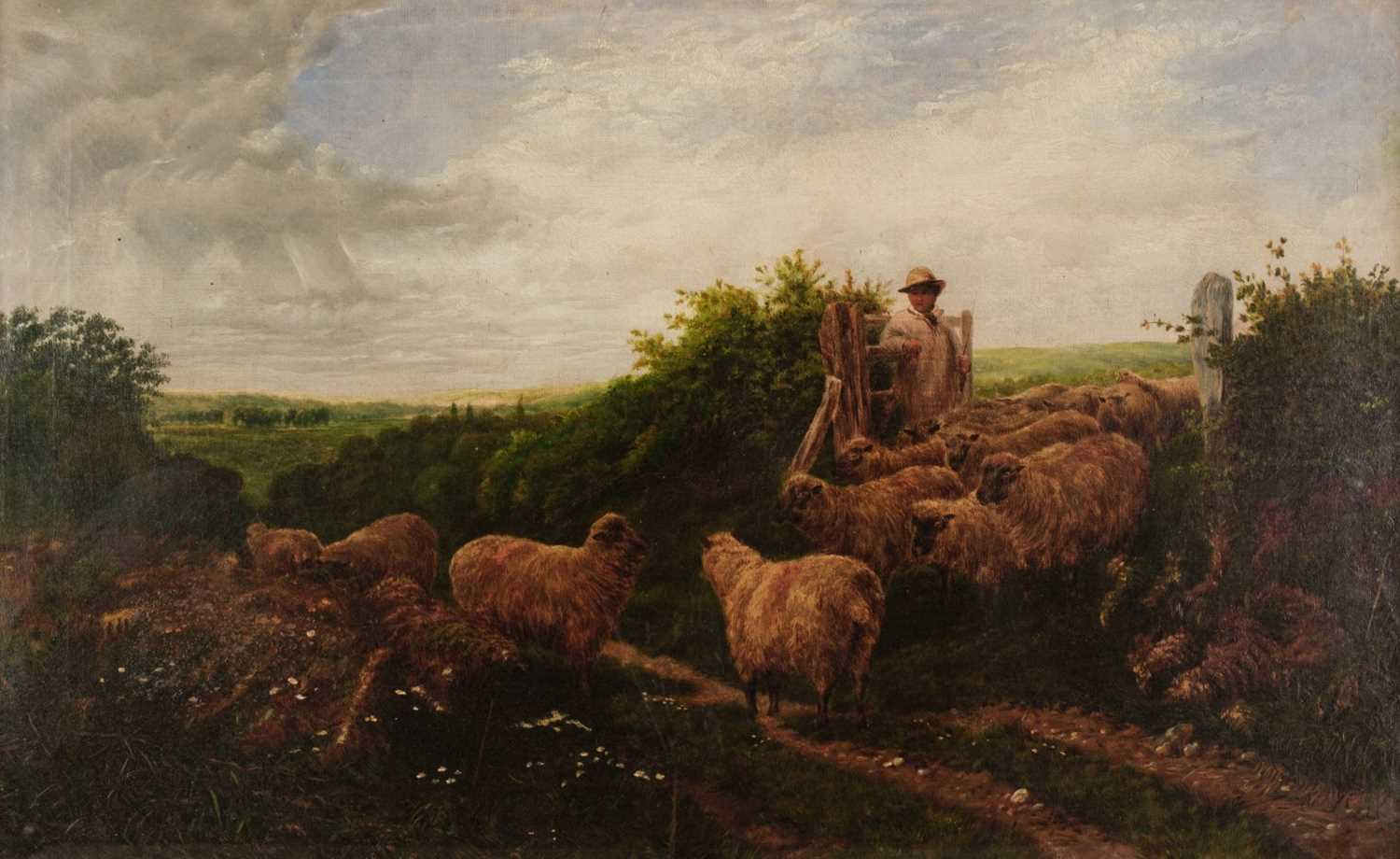 Lot 335 - English School (mid-19th century). Rural landscape with shepherd and flock