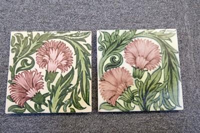 Lot 130 - Tiles. William De Morgan pottery tiles - Carnation pattern