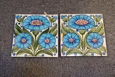 Lot 131 - Tiles. William De Morgan tiles - Bedford Park Daisy pattern