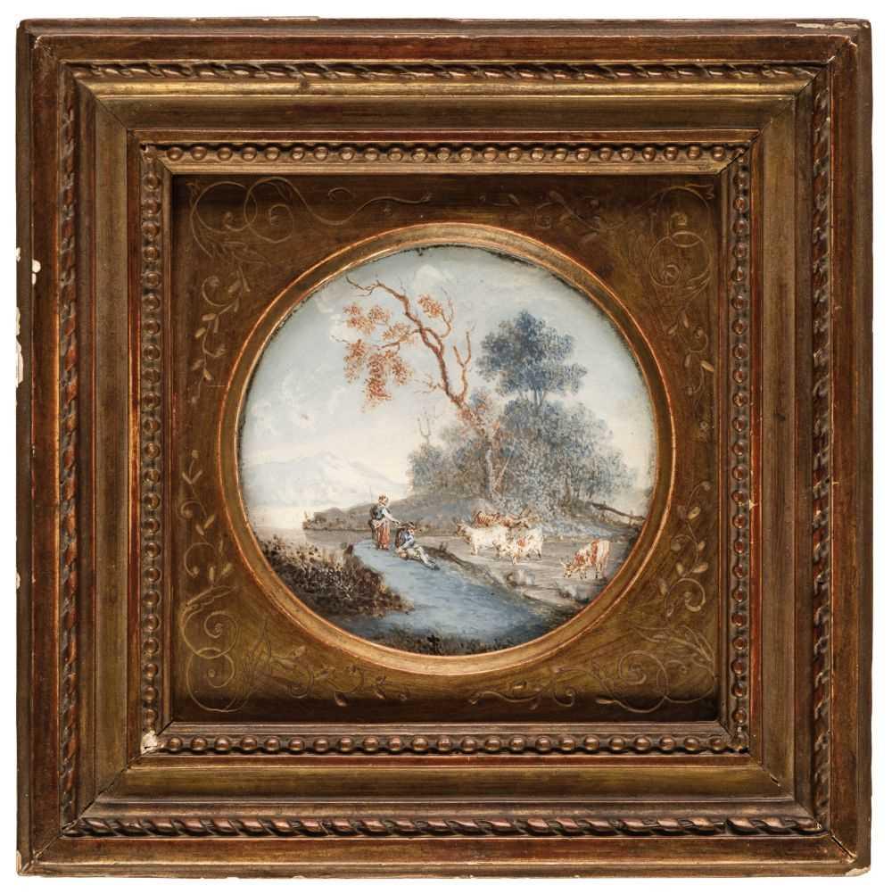 Lot 348 - Lantara (Simon Mathurin, 1729-1778). Miniature rural scene, probably late 18th century