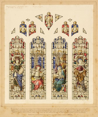 Lot 359 - Clayton & Bell (Stained Glass). Design for a 4-panel stained glass window, 1913