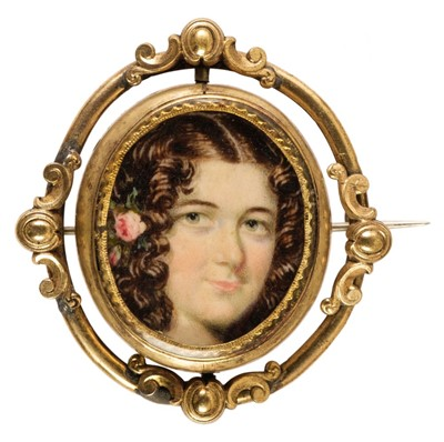 Lot 326 - English School. Portrait miniature of a young lady, with lock of hair, circa 1830