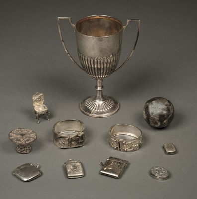 Lot 38 - Mixed Silver. Trophy cup and other items
