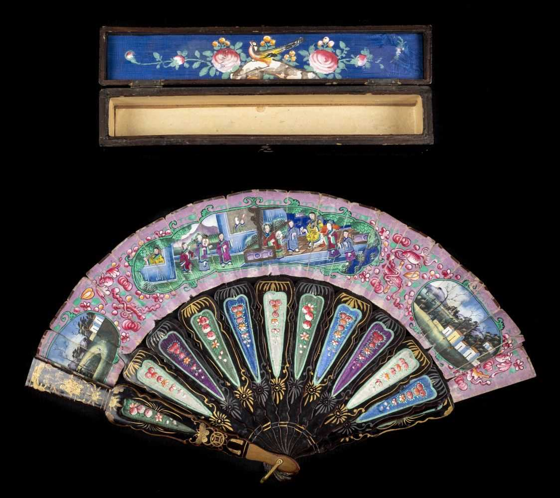 Lot 52 - Fan. A hand-painted fan, Chinese, mid 19th century
