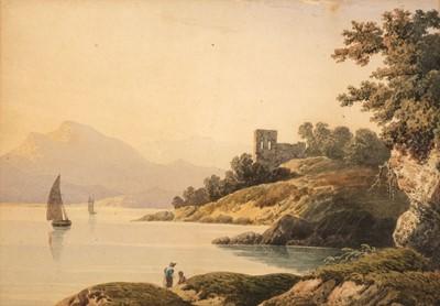 Lot 356 - Varley (John, 1778-1842). Landscape with lake