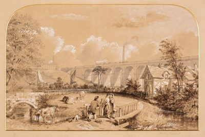 Lot 381 - Tait (Arthur Fitzwilliam). 7 watercolours from Views on the Manchester & Leeds Railway