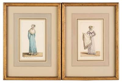 Lot 368 - French School. Two costume designs for dresses, circa 1810