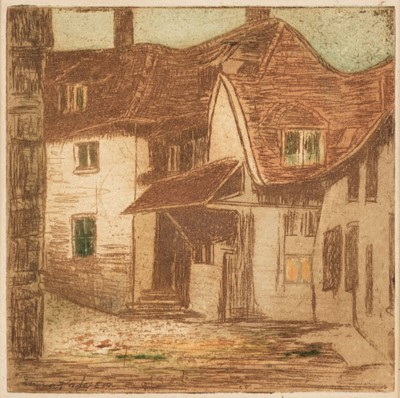 Lot 395 - Paterson (Emma, 1848-1886).  Street Scene with Cottages, circa 1880