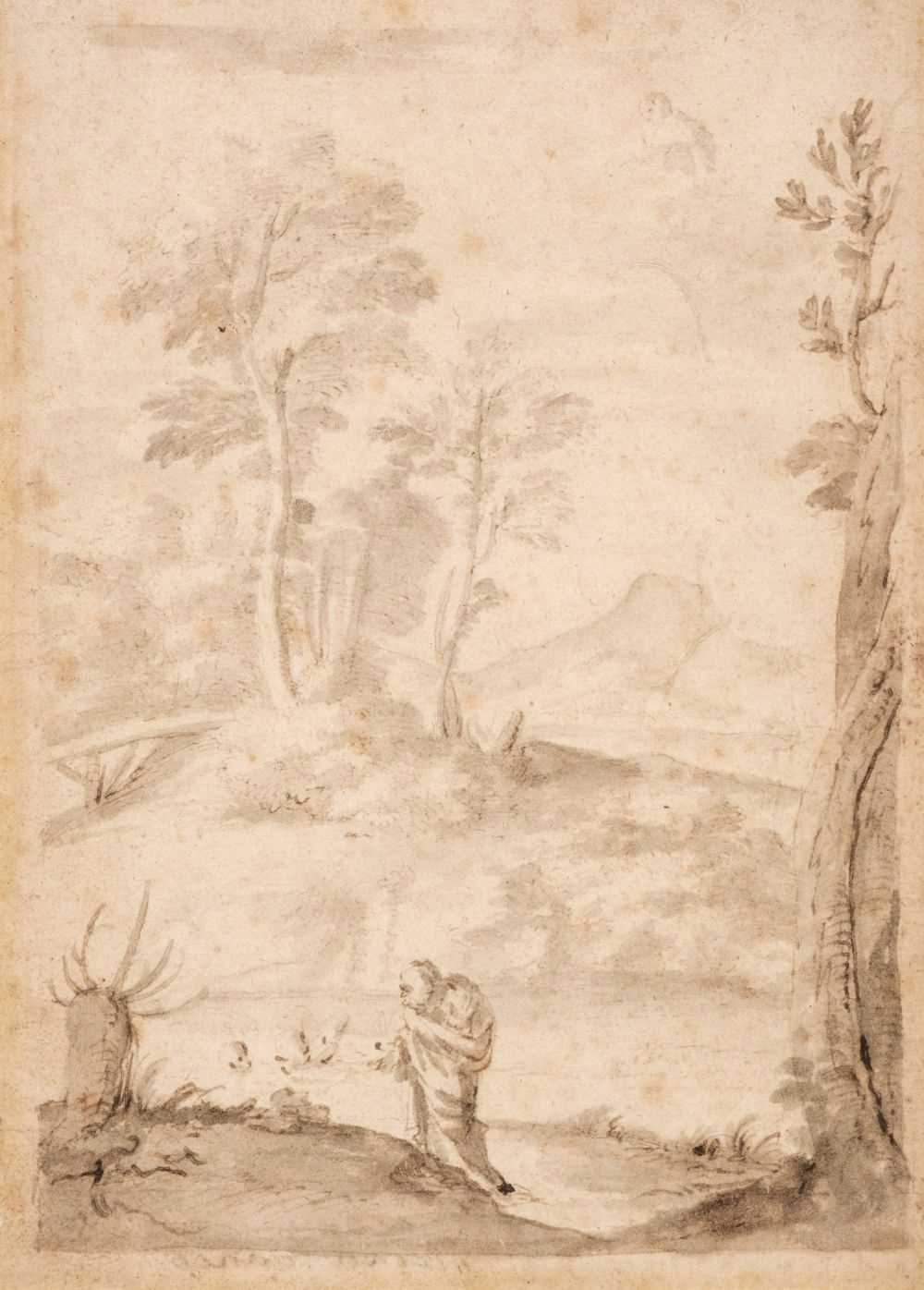 Lot 13 - Lanfranco, Giovanni, Follower of (1582-1647), St Anthony in the Wilderness, pen, ink and wash