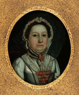 Lot 45 - Glass Paintings, 18th Century, Glass Painting of a Lady, and four hand-coloured mezzotints