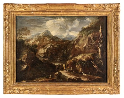 Lot 5 - Rosa (Salvator, 1615-1673), Circle of, An extensive mountainous landscape with hunters