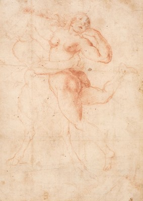 Lot 42 - Florentine School, Early 17th Century. A Satyr abducting a Nymph, sanguine crayon on fine laid paper