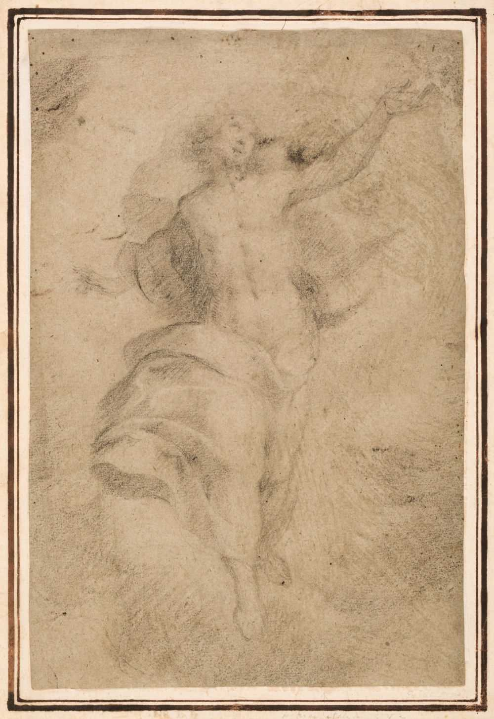 Lot 12 - Lanfanco, Giovanni (1582-1647), Attributed to. A Study for the Transfiguration, black chalk