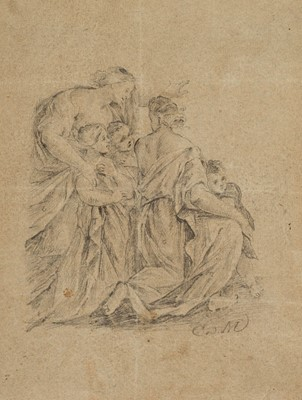 Lot 22 - Maratta, Carlo (1625-1713) A Seated Male Figure recto and a Family Group verso
