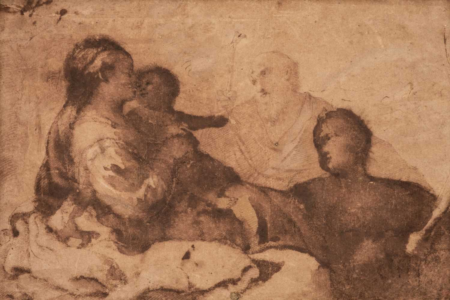 Lot 24 - Mola (Pier Francesco, 1612–1666). Holy Family, pen and brown ink and wash