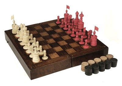"""Lot 247 - Chess. A 19th-century English bone chess set carved in the """"Barleycorn"""" pattern"""