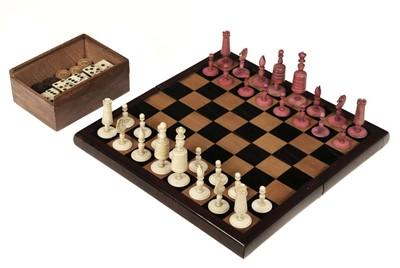 """Lot 244 - Chess. A 19th-century bone """"Selenus"""" pattern chess set"""