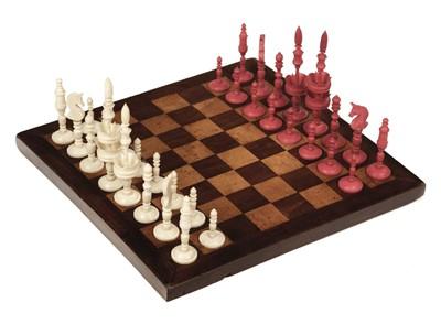 "Lot 249 - Chess. A 19th-century ivory ""Selenus"" travelling chess set"