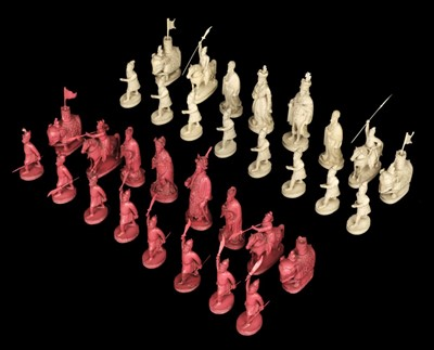 Lot 246 - Chess. A 19th-century Chinese export ivory chess set