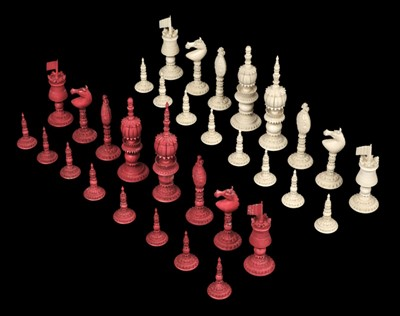 Lot 243 - Chess. A 19th-century Anglo-Indian carved ivory chess set