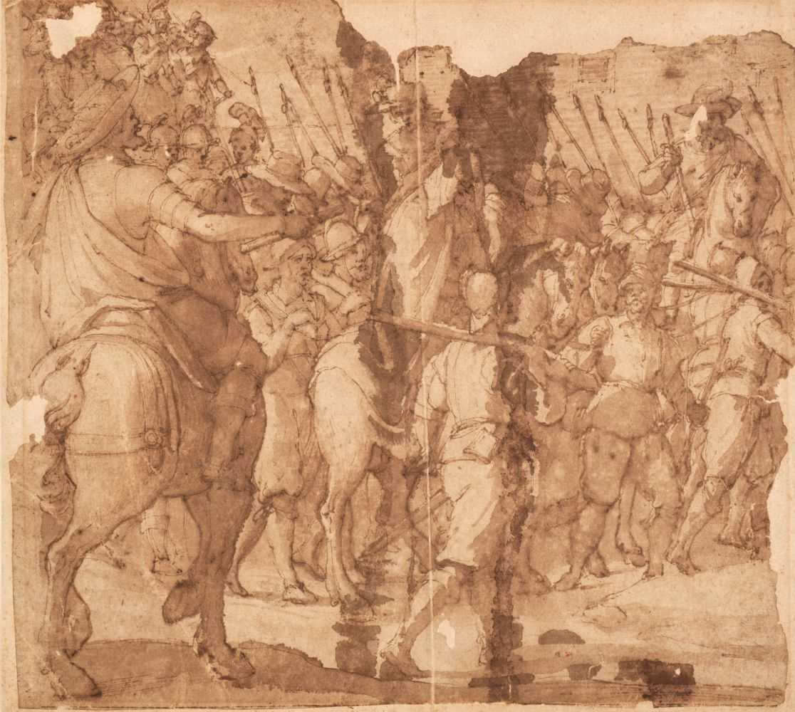 Lot 20 - Italian School, Battle Procession with Pikebearers, pen and brown ink and wash