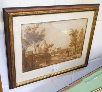 Lot 17 - Cantagallina, Remigio (1582-1630) View of Pisa, pen and brown wash