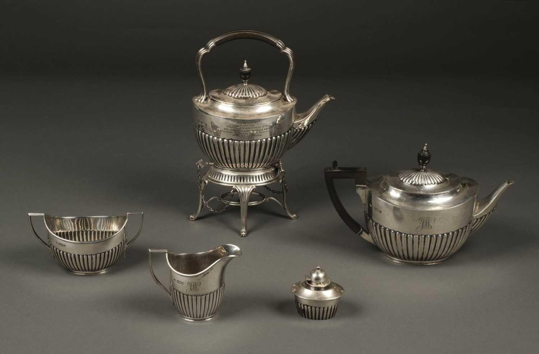 Lot 218 - Tea Set. An Edwardian silver 4-piece tea set