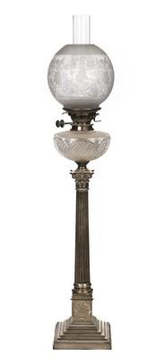 Lot 212 - Oil Lamp. An Edwardian silver oil lamp