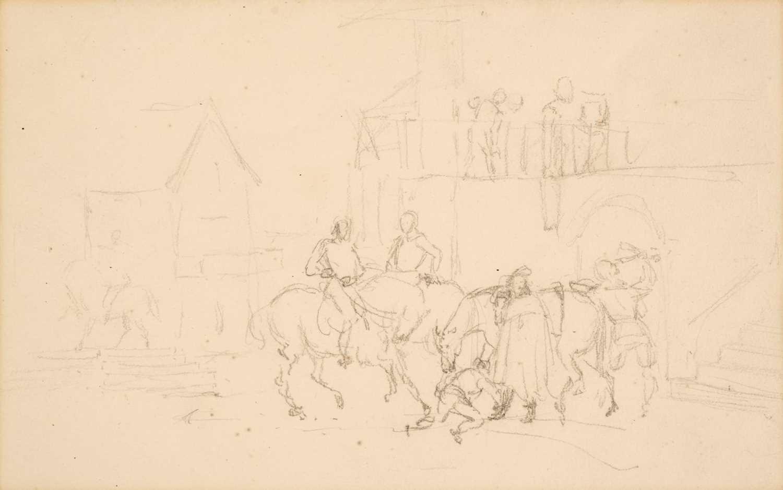 150 - Sir John Everett Millais, Cavalier in the Courtyard of an Inn, pencil on paper
