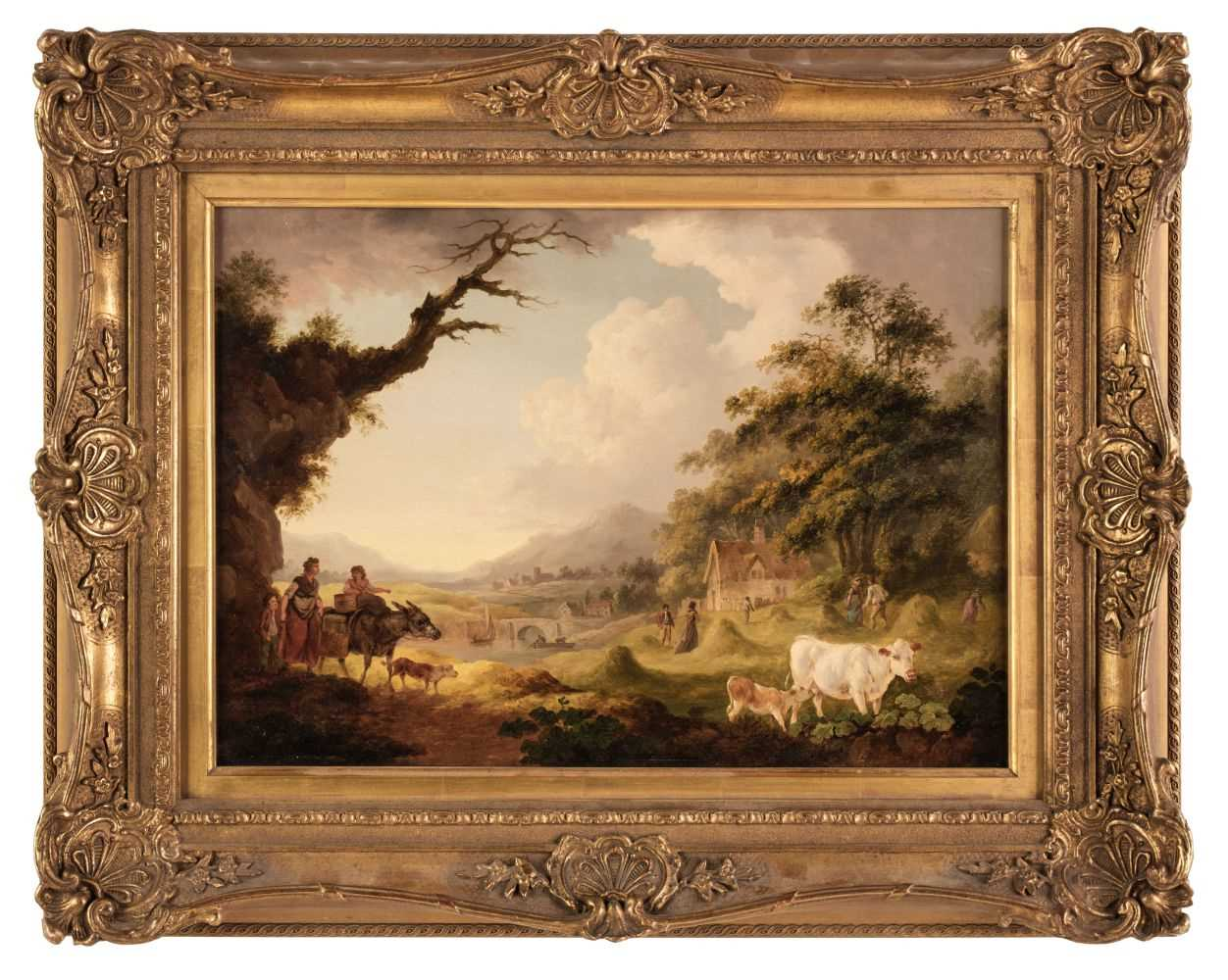 Lot 7 - Ibbetson (Julius Caesar) Figures and donkey in extensive landscape,  oil on panel