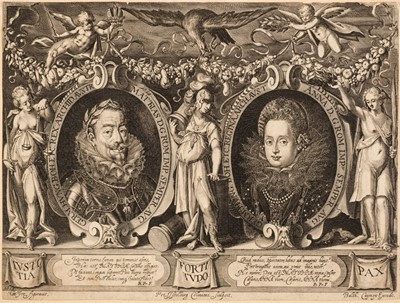 Lot 47 - Isselburg (Peter, circa 1568/1580-1630). Double Portrait of the Holy Roman Emperor Matthias and Queen Anna
