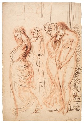 Lot 30 - Romney (George, 1734-1802). A group of oppressed male and female figures, and one other
