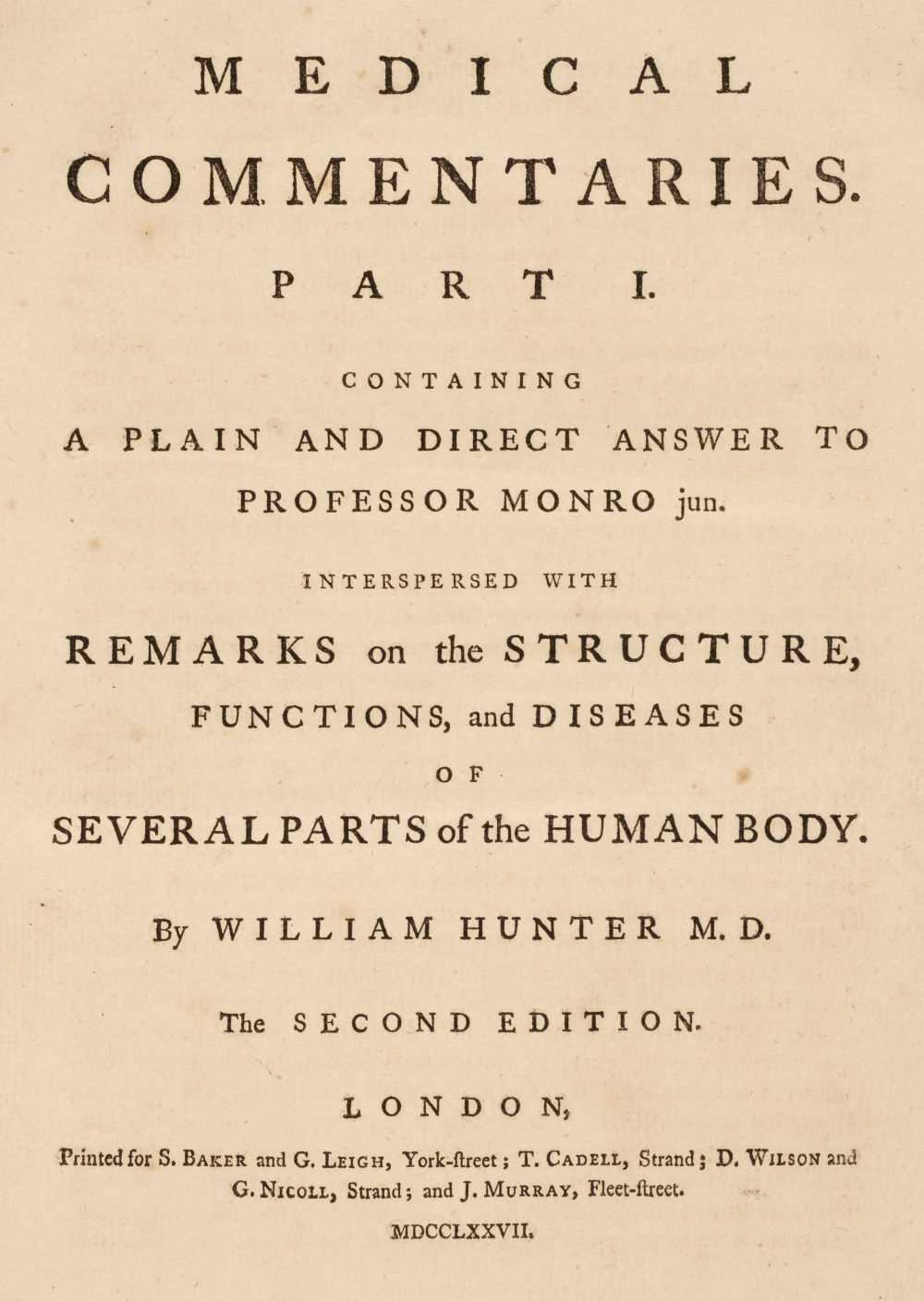 Lot 240 - Hunter (William). Medical Commentaries. Part I., 2nd edition, 1777
