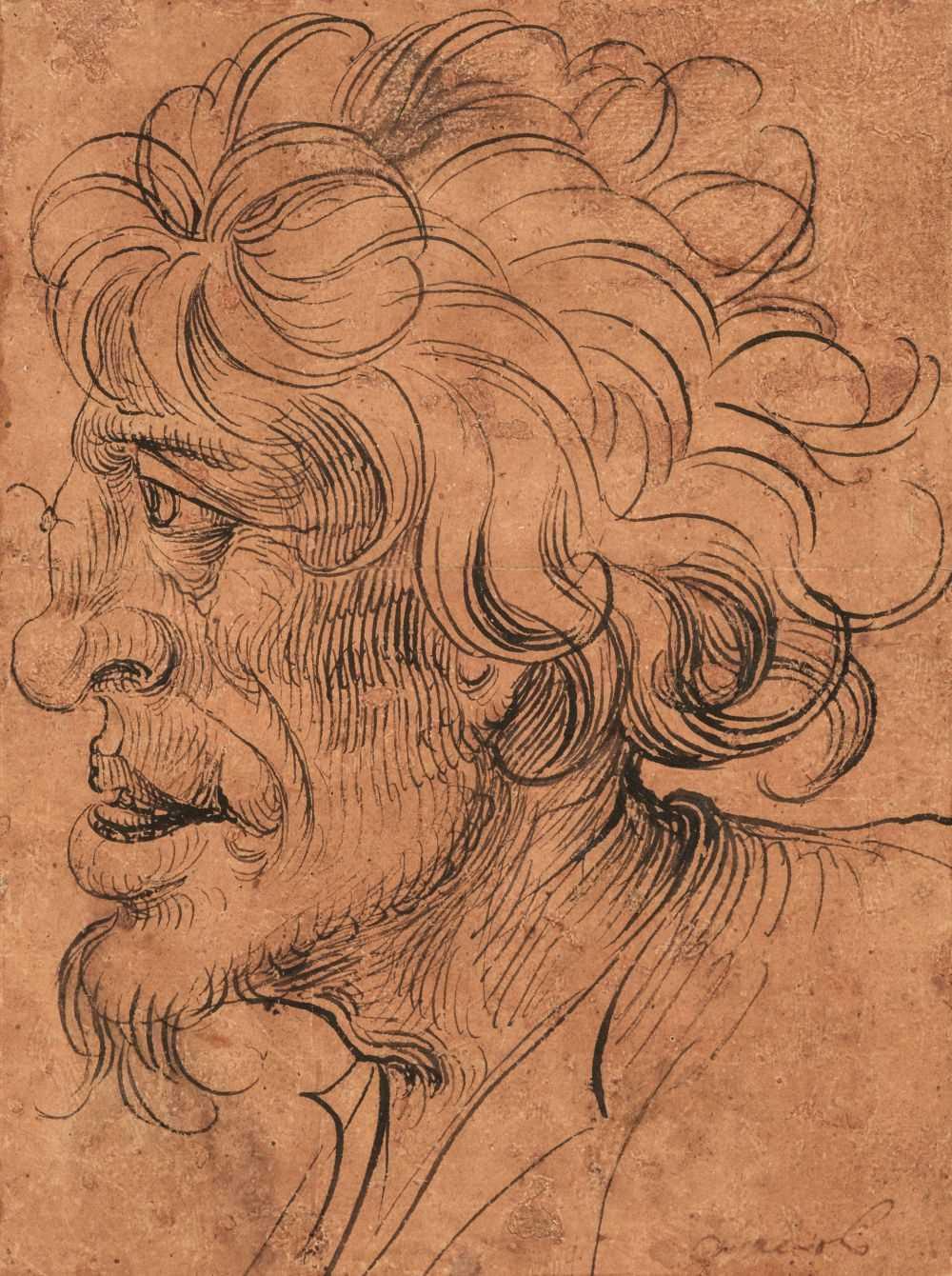 Lot 10 - German School. Head of a Wild Man, first half 16th century