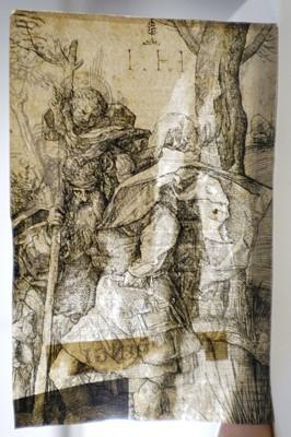 Lot 11 - German School. Saint Christopher carrying the Infant Christ, 16th century
