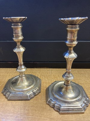 Lot 205 - Candlesticks. A pair of George II silver candlesticks