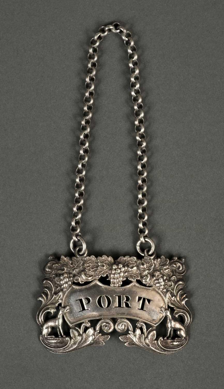Lot 222 - Wine Label. A George IV silver wine label, London 1828